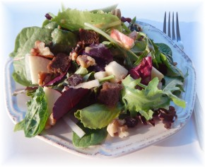 A Spring Salad with a Hint of Autumn:  Apple Walnut Raisin Salad with Cinnamon Vinaigrette