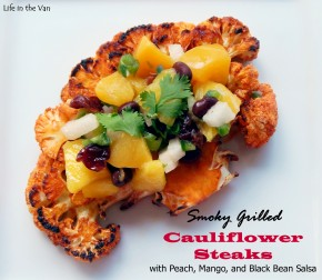 Smoky Grilled Cauliflower Steaks with Peach, Mango, and Black Bean Salsa