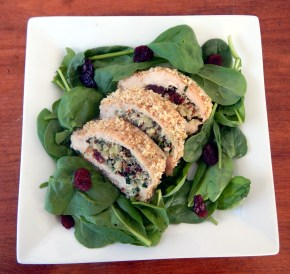 Walnut Crusted Chicken Roulade with Waldorf Quinoa