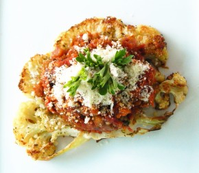 Parmesan Roasted Cauliflower Steaks with Eggplant Caponata
