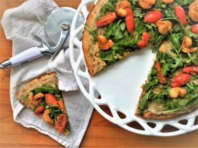 White Bean, Arugula, and Shrimp Scampi Pizza